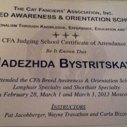 CFA Breed Awareness and Orientation School finished!
